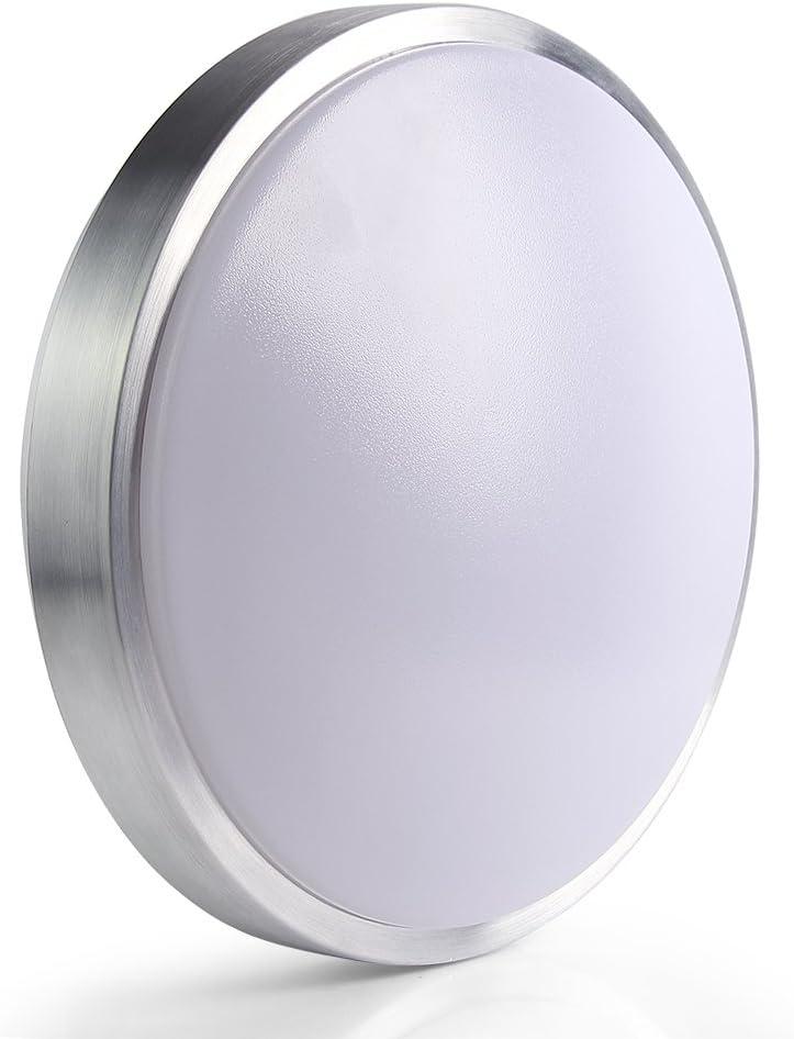 Lineway Indoor/Outdoor Motion Sensor Light Ceiling Light, LED Flush Mount Light Fixture Radar Sensing 15W 10inch 1020lm 6000K Cool White Ceiling Lamp for Hallway Stairway Garage Porch Basement Laundry