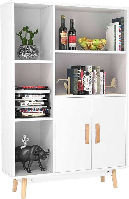 Homfa Estanteria Madera Librería del Salón Mueble Auxiliar Almacenaje para Salón Dormitorio Oficina Entrada con 2 Puertas 5 Compartimentos 4 Patas ...