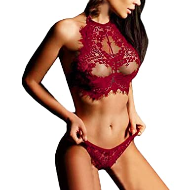 b9bc95ae17e05 Piebo Women Sexy Lingerie Lace Women Sheer Lace Babydoll Mesh Chemise  Sleepwear Back Lingerie Nightwear Set Sexy Lingerie Lace Flowers Push Up  Top Bra Pants ...