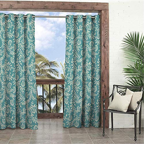 (Balcony Waterproof Curtains Traditional Flower Silhouettes Stalks and Leaves Blooming Spring Season Inspirations Ivory Teal pergola Grommets Decor Curtain 120 by 96 inch )