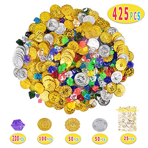 Max Fun 425 PCS Pirate Gold & Silver Coins and Pirate Diamond Gems Jewels for Kids Pirate Party Favors (Style 2 (425 pcs)) ()