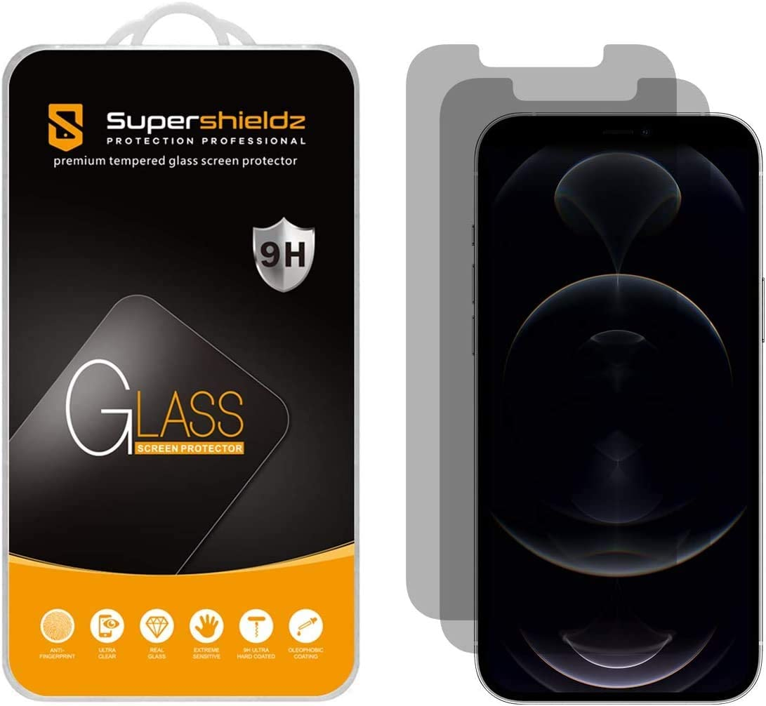 (2 Pack) Supershieldz Designed for iPhone 12 and iPhone 12 Pro (6.1 inch) (Privacy) Anti Spy Tempered Glass Screen Protector, Anti Scratch, Bubble Free