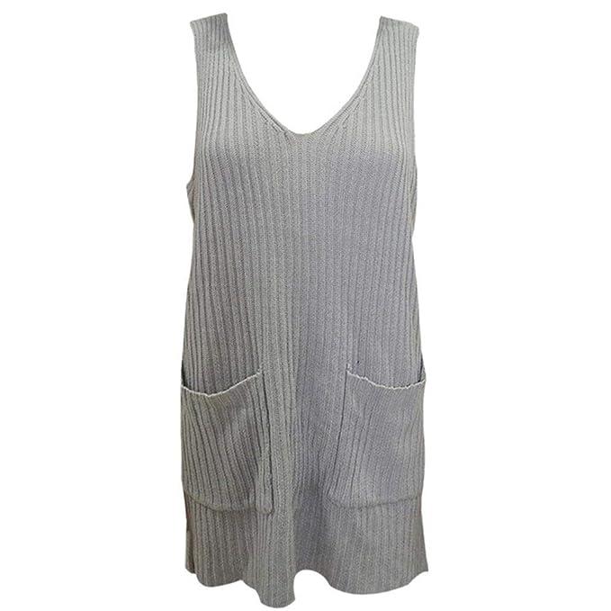 6a41a55054be84 Qixuan Womens Tank Sweater Dresses Fall Sleeveless Knit Loose V Neck Dress  Pockets Grey S