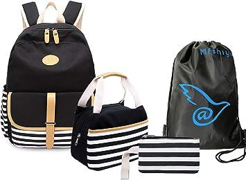 4er Damen Canvas Schulrucksack Schultertasche Geldbeutel Mäppchen Backpack Set