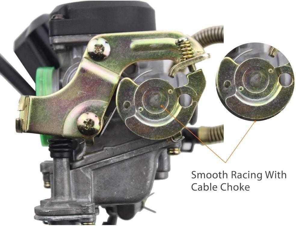 GOOFIT Carburador 18mm PD18J con Electronico Choke con Bomba Acelerador Rendimiento para 49cc 50cc 139QMB Motor ATV Quad Go Kart Pit Bike Ciclomotor y Scooter Plata