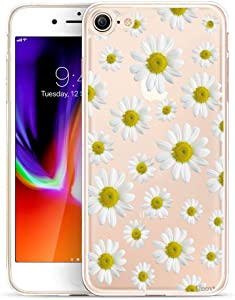 Unov Case for iPhone SE (2020) iPhone 8 iPhone 7 Clear with Design Embossed Floral Pattern TPU Soft Bumper Shock Absorption Slim Protective Back Cover 4.7 Inch (White Daisy)