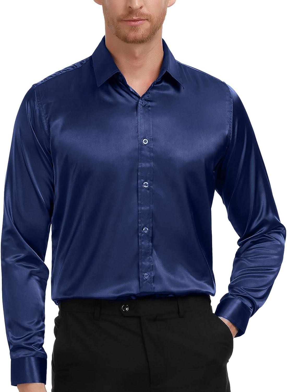 Men/'s Regular Fit Long Sleeve Solid Color One Pocket Dress Shirt In Off White
