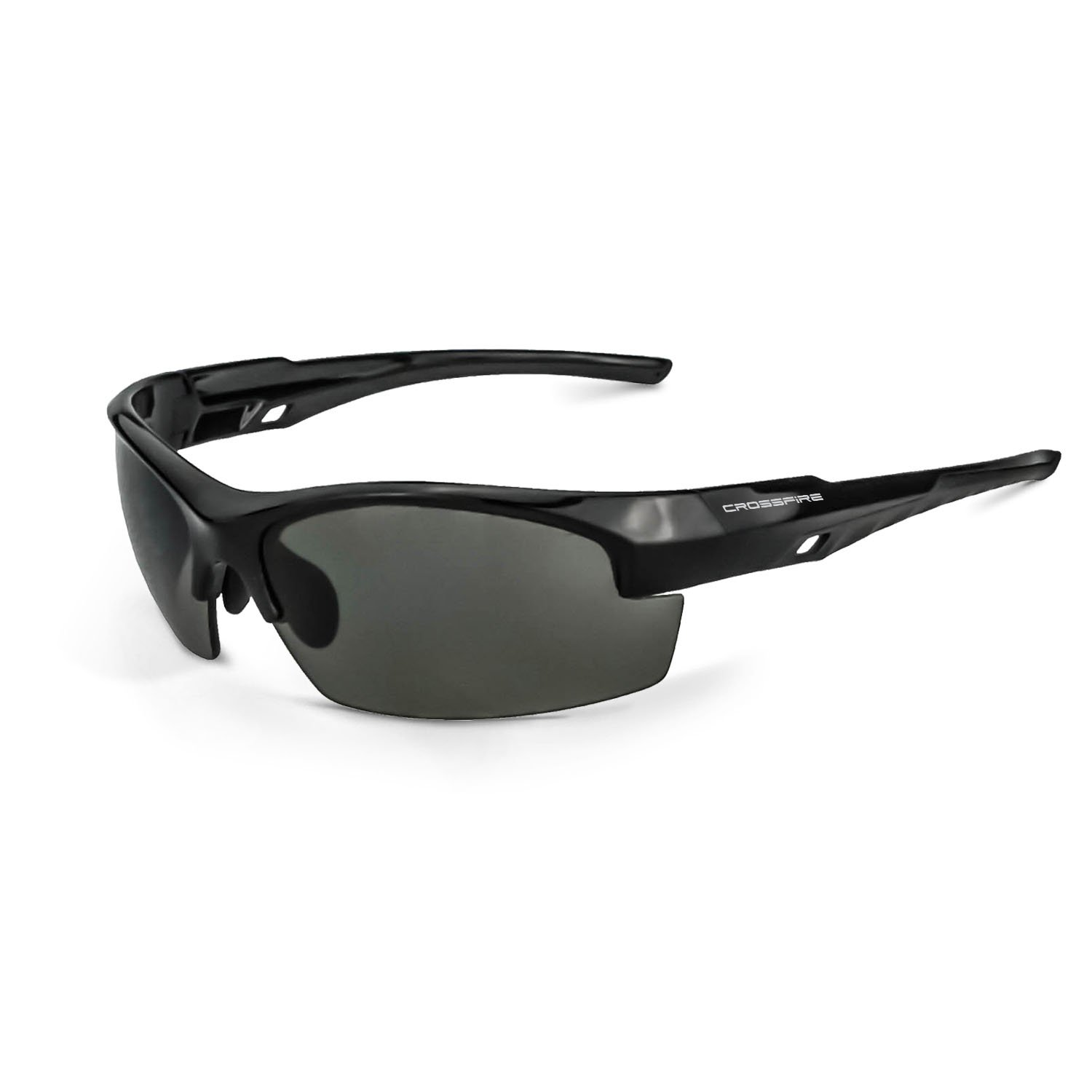 Crossfire Eyewear 4061 Crucible Smoke LENS /& Shiny Black Frame,