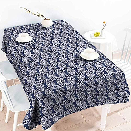 - Onefzc Waterproof Table Cover,Navy Blue Abstract Floral Damask with Antique Victorian Design Renaissance Flourish,Table Cover for Dining,W60X90L Dark Blue Bayberry