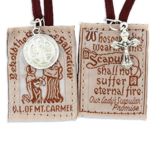 Mahogany Catholic Brown Scapular by - Mount Carmel Medallion