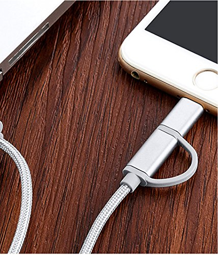 2N1 Wall Car Charger and 6ft USB Nylon Charging Cable Works with iPhone Android Cell Phones & Electronic Devices (White) by 2N1 (Image #2)