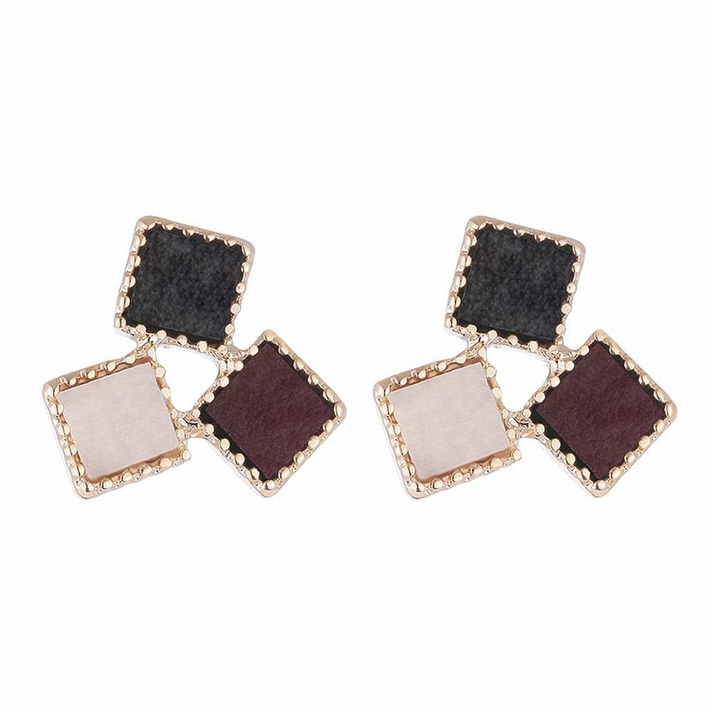 Ling Studs Earrings Hypoallergenic Cartilage Ear Piercing Stud earrings color mosaic geometric pu texture short hair simple earrings