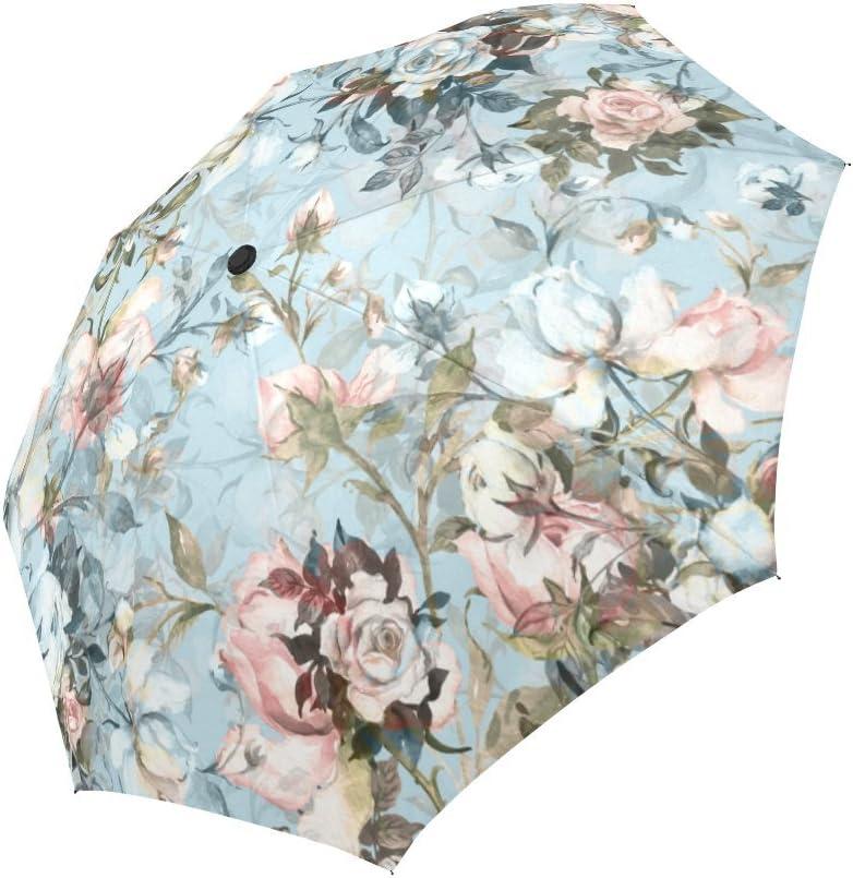 Stylized Ornamental Flowers In Retro Unique Novel Auto Open Close Umbrella Compact Outdoor Travel Umbrella Resistant To Wind Rain And UV