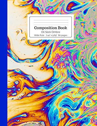 (Composition Book Oil Slick Ombre Wide Rule (Rainbow Composition)