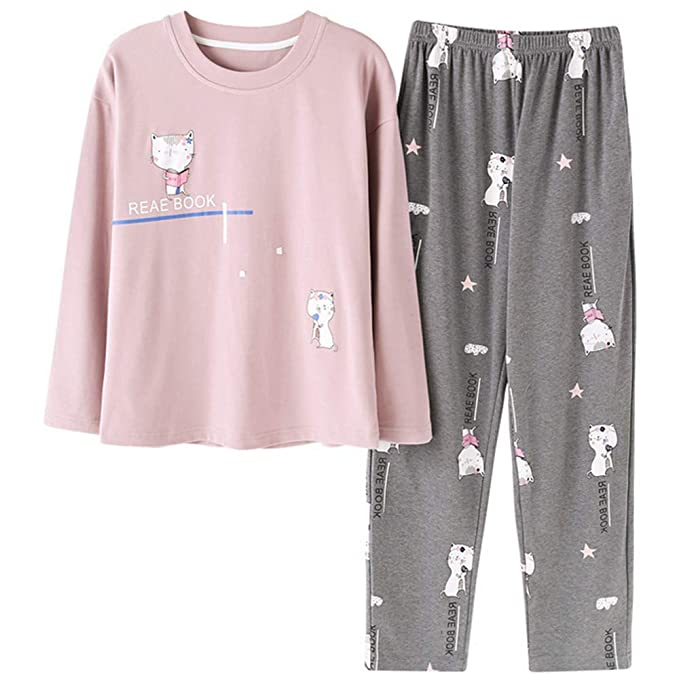 Mmllse Ropa Interior De Algodón para Mujeres Juegos De Pijama Dulce Pijamas De Gato Vestidor para Dormir Ropa De Dormir De Manga Larga Vestido Camisero ...