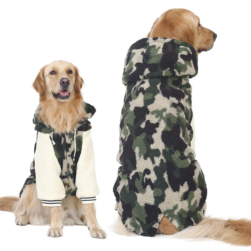 Winter Warm Fleece Big Large Dog Coat Jacket Camouflage Dog Puppy Hoodie Pajamas Clothing Golden Retriever Pitbull Dog Clothes (4XL, Green) FLAdorepet