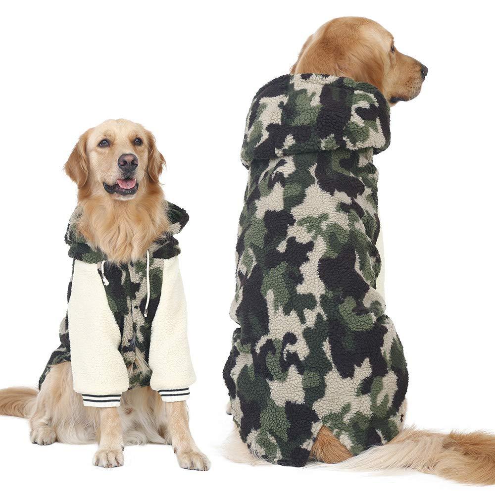 Green 3XL Green 3XL FLAdorepet Winter Warm Fleece Big Large Dog Coat Jacket Camouflage Dog Puppy Hoodie Pajamas Clothing golden Retriever Pitbull Dog Clothes (3XL, Green)