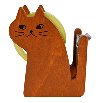 Clara Vintage Cute Wooden Desktop Tape Dispenser Kawaii Cat Shape Tape Cutter(Coffee)