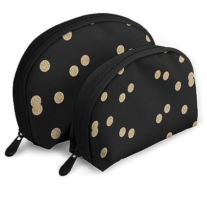 ca3e841020 XINLLPO Gold Glitter Scattered Polka Dots Portable Cosmetic Bag,Toiletry Bag,Mini  Travel Cosmetic