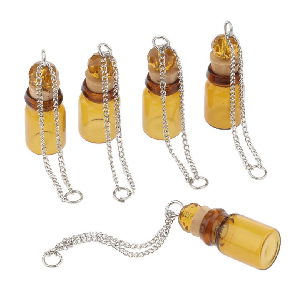 P Prettyia 5pcs Mini Bouteilles en Verre Flacons dhuiles essentielles Collier
