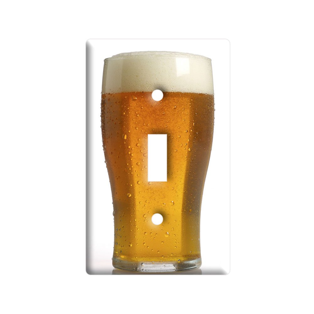 Tall Glass of Beer - Plastic Wall Decor Toggle Light Switch Plate Cover