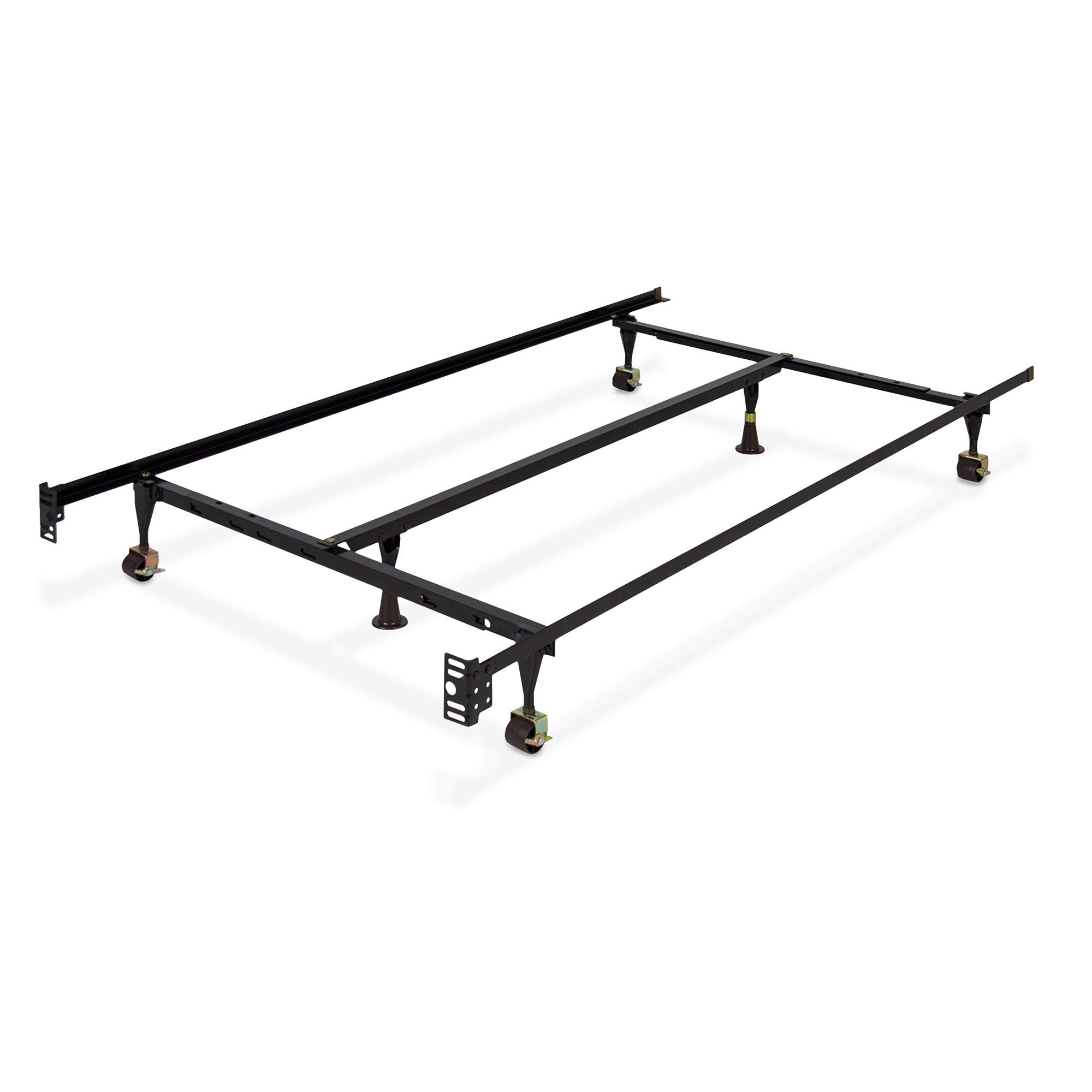 Best Choice Products Folding Adjustable Portable Metal Bed Frame for Twin, Full, Queen Sized Mattresses and Headboards with Center Support, Locking Wheel Rollers, Black by Best Choice Products