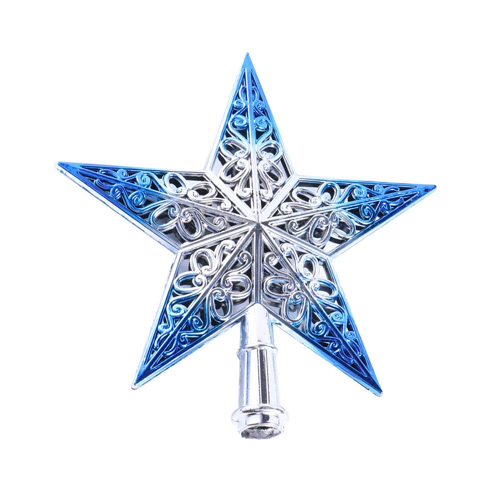 doublebulls décor Xmas Hollow Star Christmas Tree Topper, Christmas Tree Decorations, Shiny, Blue Silver, 20Cm(7.9