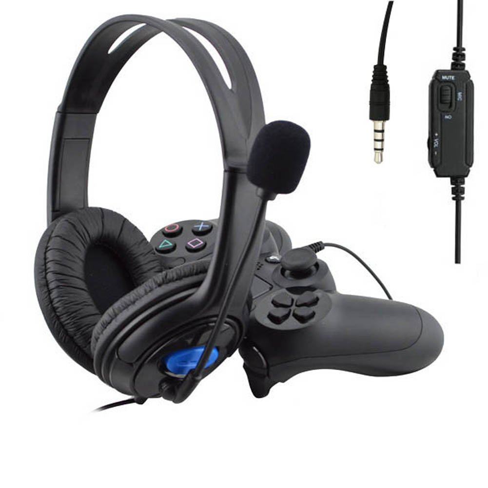 wired gaming headphone microphone mic headseat ps4 pc hard. Black Bedroom Furniture Sets. Home Design Ideas