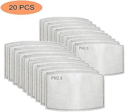 50 unidadesfiltros de carb/ón activado PM2.5 5 capas reemplazables de papel de filtro antiniebla