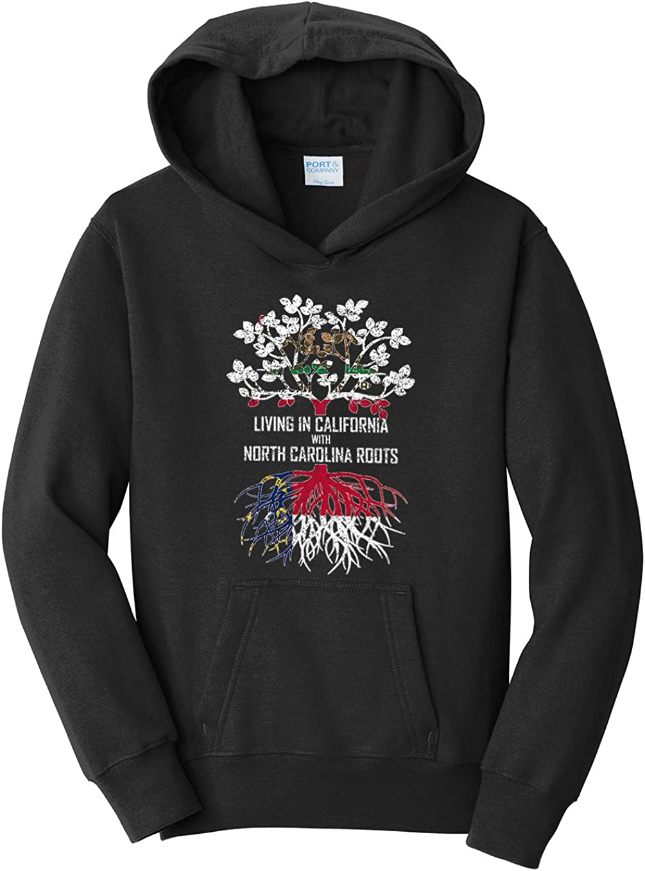 Tenacitee Girls Living in California with North Carolina Roots Hooded Sweatshirt