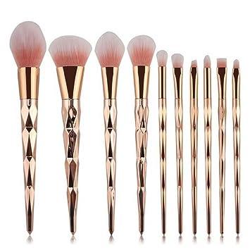 unicorn brushes makeup. coshine 10pcs unicorn shiny gold diamond makeup brush set professional foundation powder cream blush kits brushes n