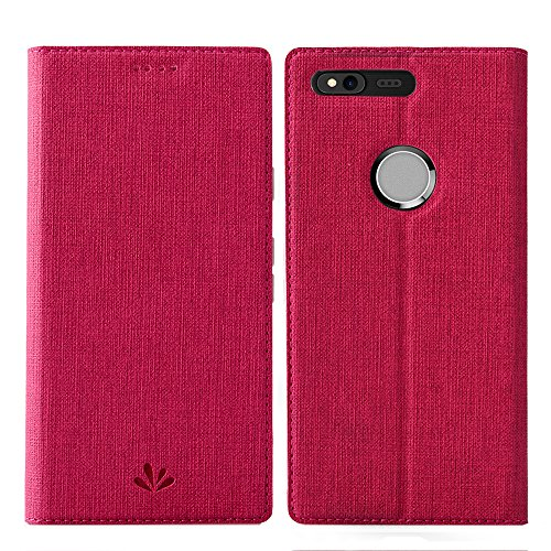 Feitenn Google Pixel XL case Premium Leather PU Wallet Flip Smart Case Stand Kicstand Card Holder Magnetic Closure TPU Bumper Full Cover case for Google Pixel XL5.5 inch (Red)