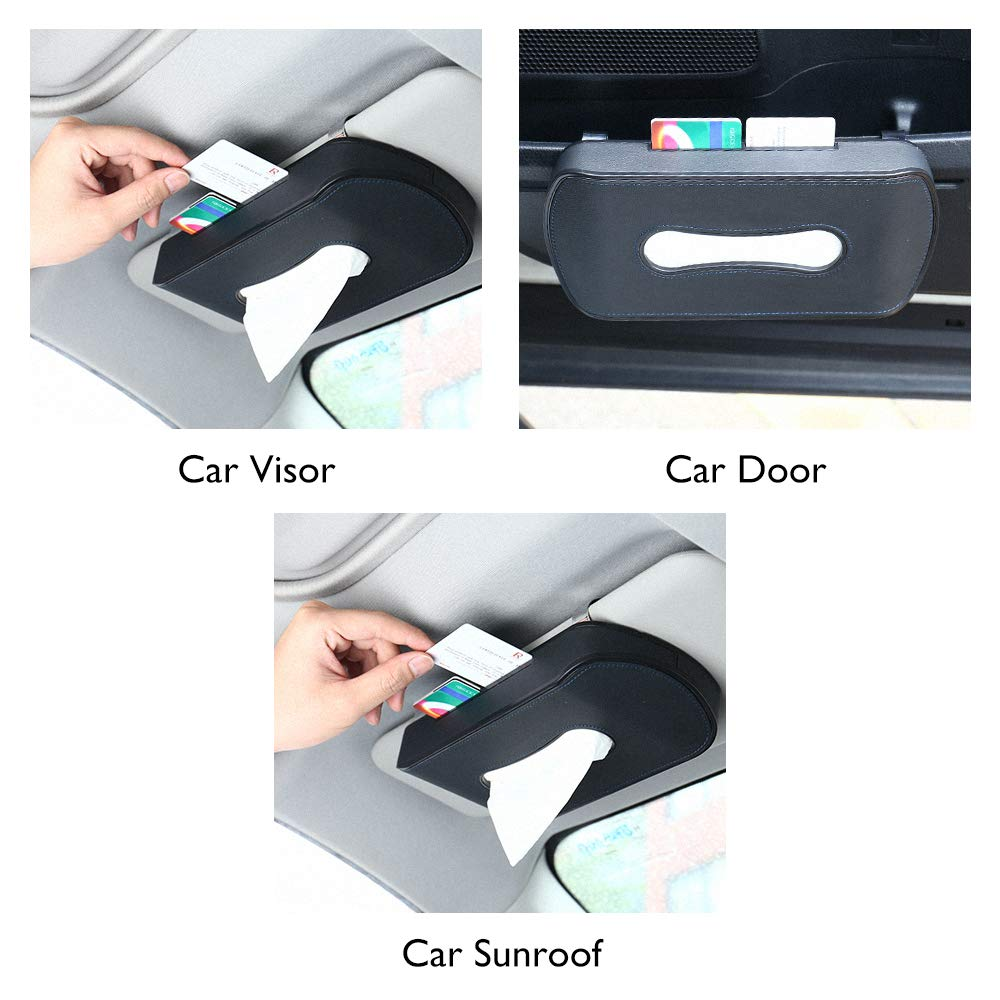 Black FMS Genuine Leather Car Tissue Case Holder for Putting on Car Dashboard /& Armrest for Car Decoration with A Pack of Tissue Refill 4350406502