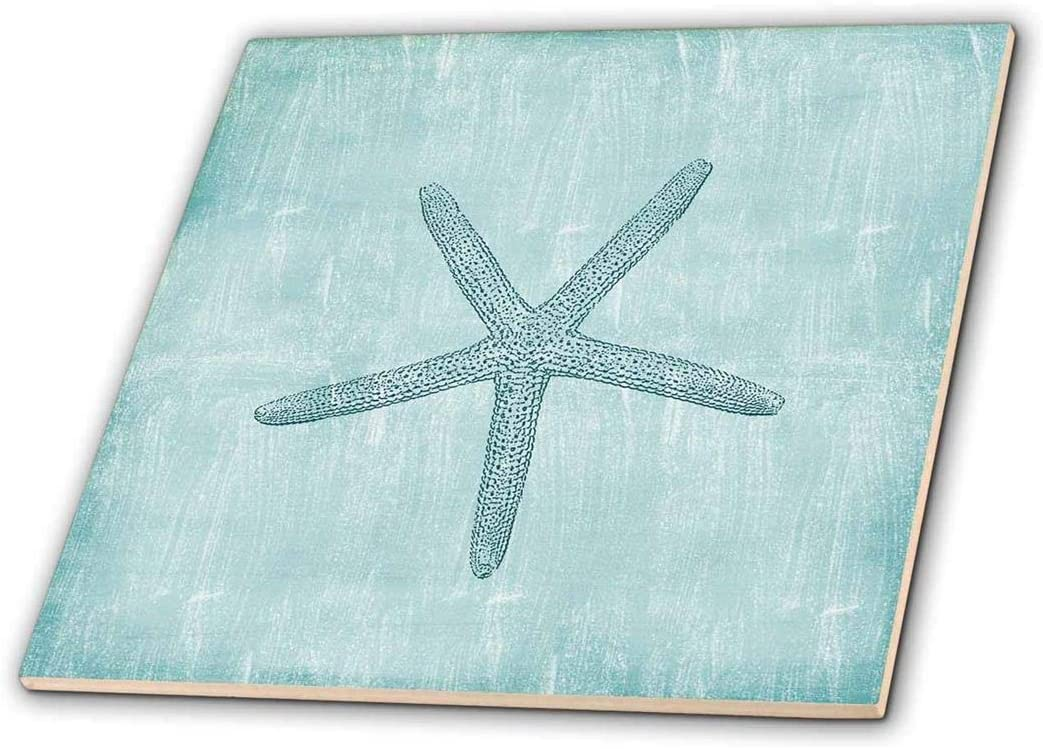 ct/_79350/_4 12-inch 3dRose Relax Starfish Aqua and Blue Beach Theme with Ocean Colors-Ceramic Tile Multicolor