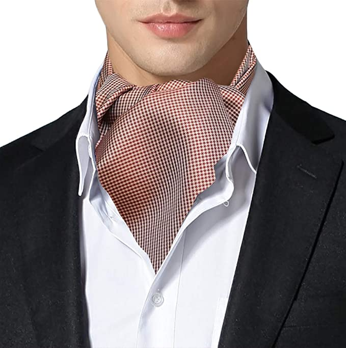 Vintage Black and White Houndstooth  Print Ascot Cravat Tie Unisex 70s