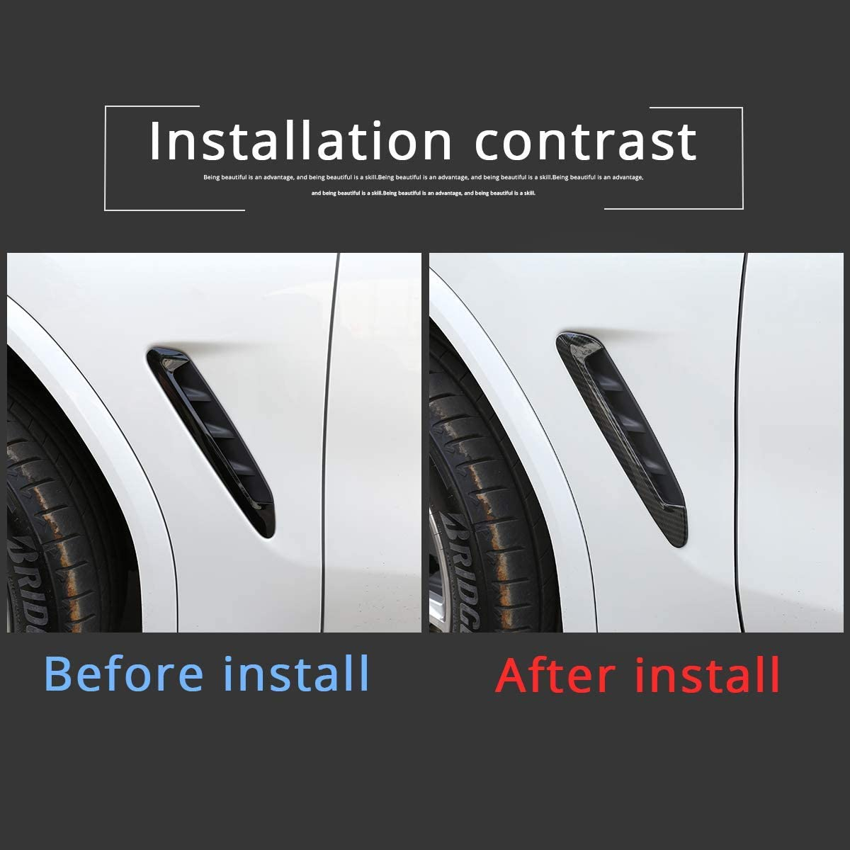 YIWANG Carbon Fiber Style ABS Front Fender Side Air Vent Outlet Trim Cover 2pcs For X3 X4 G01 G02 2018 2019 Auto Accessories