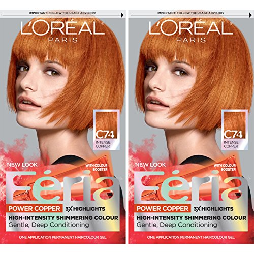 L'Oréal Paris Feria Multi-Faceted Shimmering Permanent Hair Color, C74 Intense Copper, 2 COUNT Hair Dye (Best Highlights For Natural Red Hair)