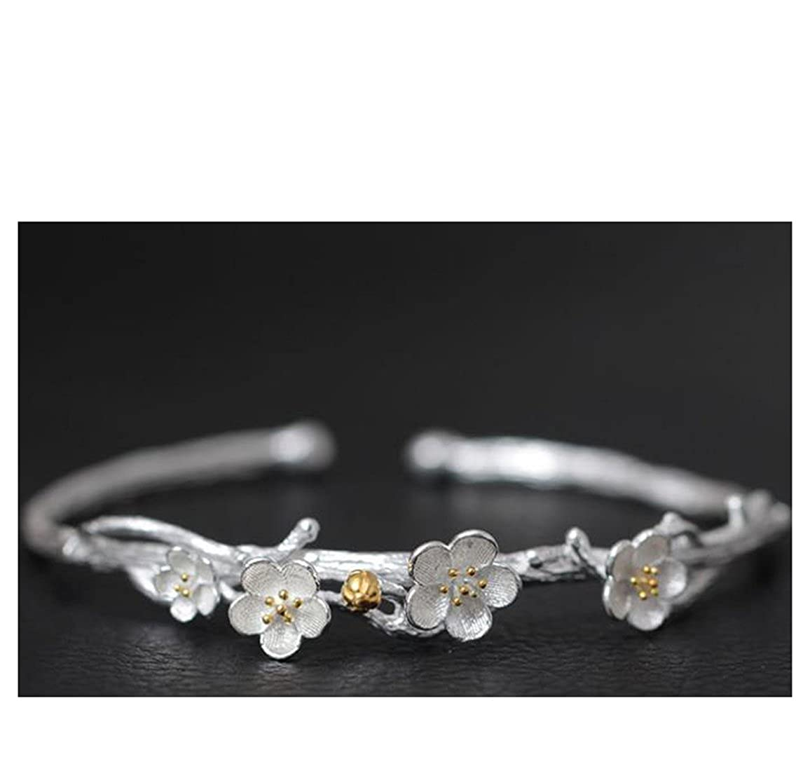 SHEIS LOVING Bangles Bracelet For Women Girls Ladies Genuine 925 Sterling Silver Bangles With Yellow Gold Plated For Sensitive Skin Plum Flower Silver Bangles Adjustable Size Good Quality Gift