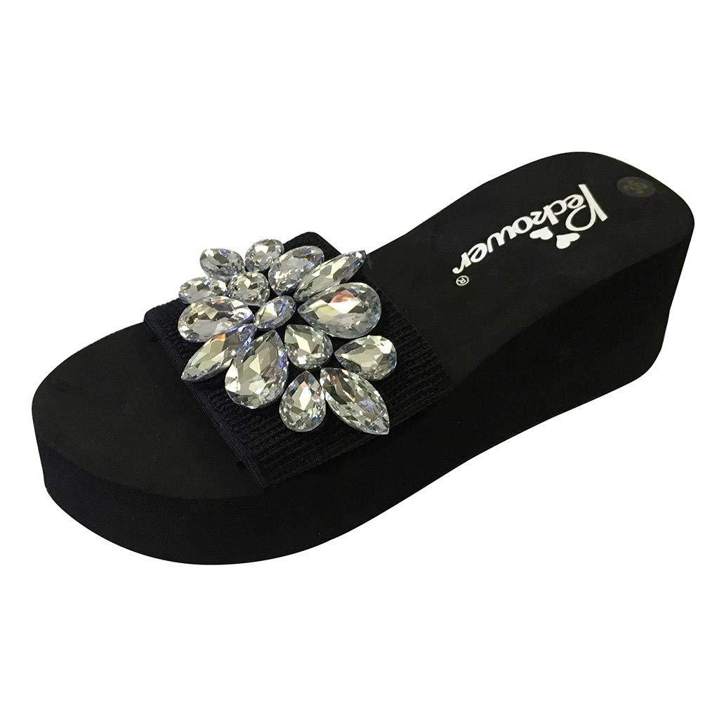 Women Platform Thong Sandals,Spring Summer Ladies Crystal Wedges Flip Flops Girls Casual Beach Slip-on Slippers