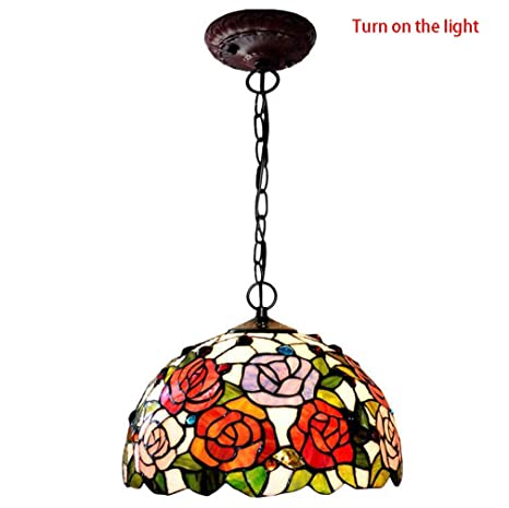 Tiffany Style Pendant Light 12 Inch Stained Glass Rose