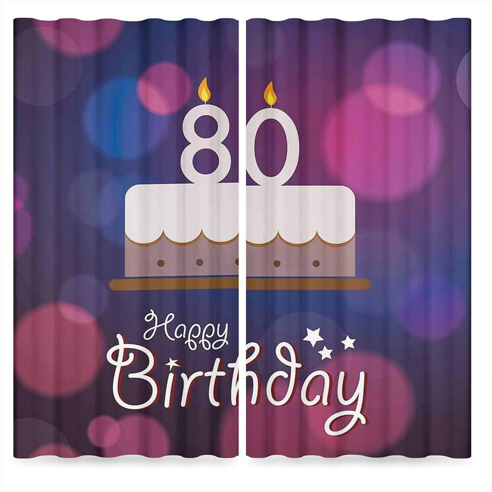 80th Birthday Decorations Blackout Curtains,Abstract Backdrop with Birthday Party Cake and Candles,Living Room Bedroom Window Drapes, 2 Panel Set, 28W X 39L Inches
