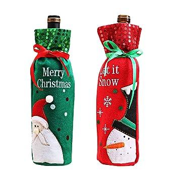 Navidad cubierta de la botella de vino rojo vino bolsas de ...
