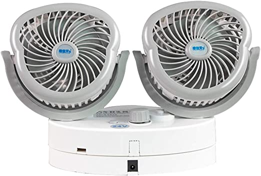 Ventilador de Doble Cabezal del Coche,Coche 12v/24v Universal Ventilador Silencioso,Ventilador del Encendedor de Cigarrillos Coche/Ventilador de VentilacióN Coche/Ventilador del Panel de Instrumento: Amazon.es: Hogar