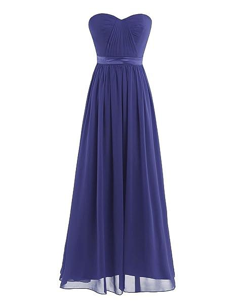 Freebily Vestido Largo Elegante de Noche Fiesta Mujer Chica para Fiesta Cóctel Graduación Boda Azul Marino