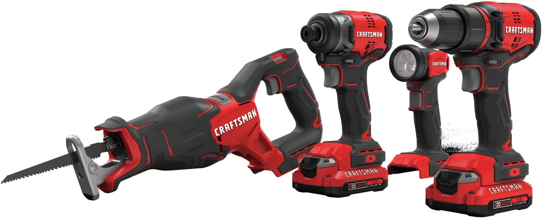 CRAFTSMAN V20 Craftsman Drill Combo, Cordless, 4-Tool (CMCK420D2)