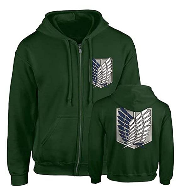 b50257605f42 Uget Women s Woolen Attack on Titan Hoodies Sweater Jacket (Green Large)   Amazon.in  Clothing   Accessories