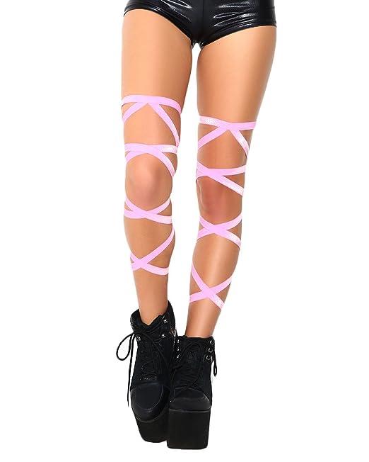 b65f17866fc Amazon.com  iHeartRaves Pair of Non-Slip Rave Leg Wraps (Baby Pink ...