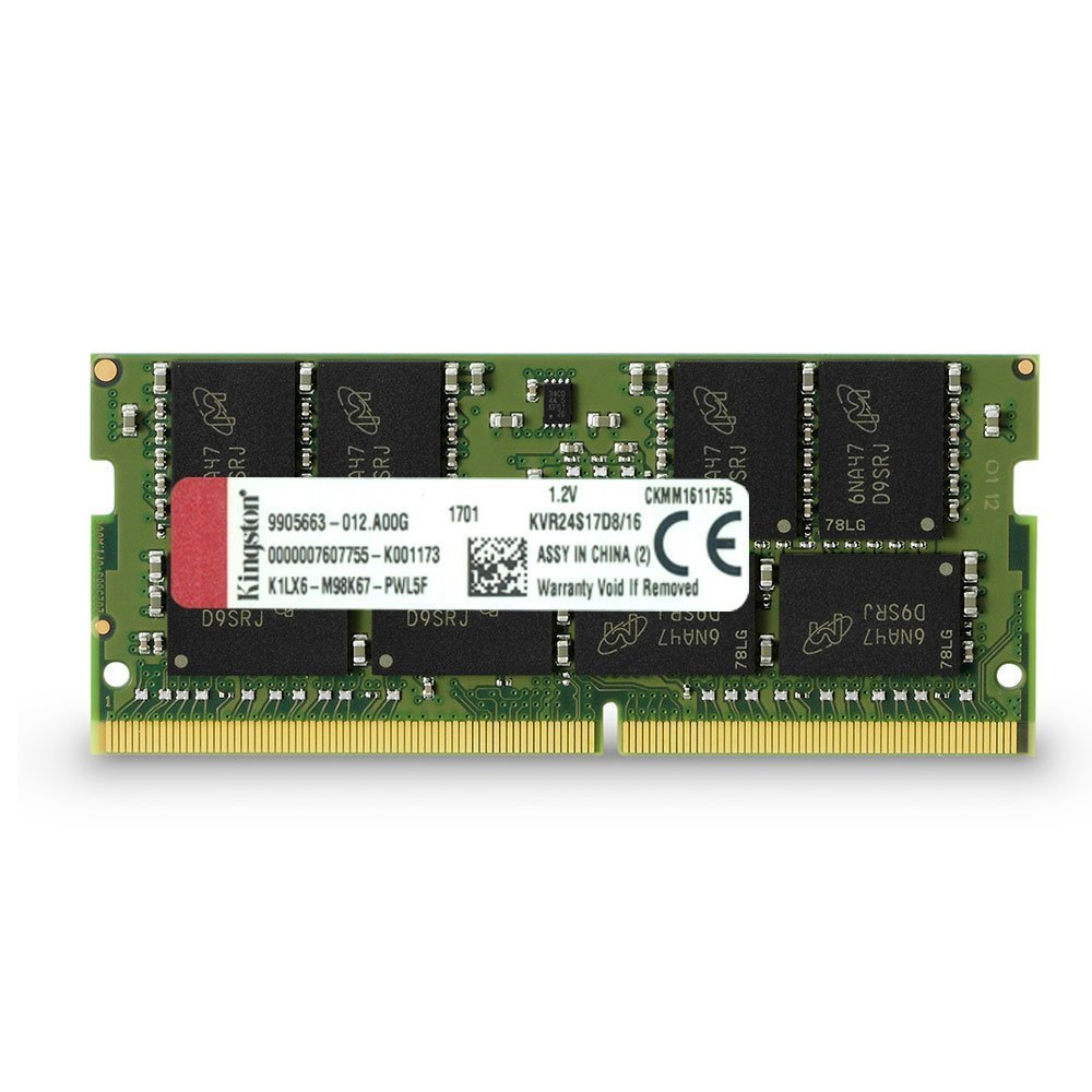 Kingston Technology ValueRAM 16GB 2400Mhz DDR4 Non-ECC CL17 SODIMM 2Rx8 (KVR24S17D8/16)