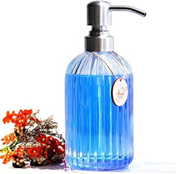Clear Vertical Striped Glass Soap Dispenser with Rust Proof Stainless Steel  Pump, Refillable Liquid Hand Soap Dispenser for Kitchen and Bathroom - ...
