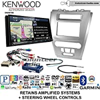 Volunteer Audio Kenwood DNX874S Double Din Radio Install Kit with GPS Navigation Apple CarPlay Android Auto Fits 2010-2012 Fusion (Silver) (Retains steering wheel controls)